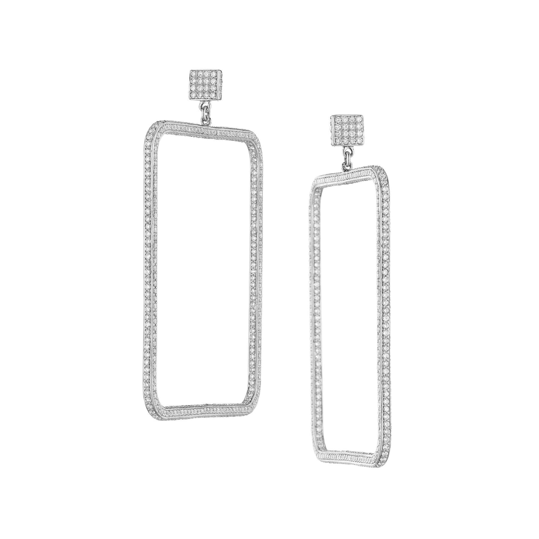 Piece Square 3D Diamond Drop Earrings_18k White Gold