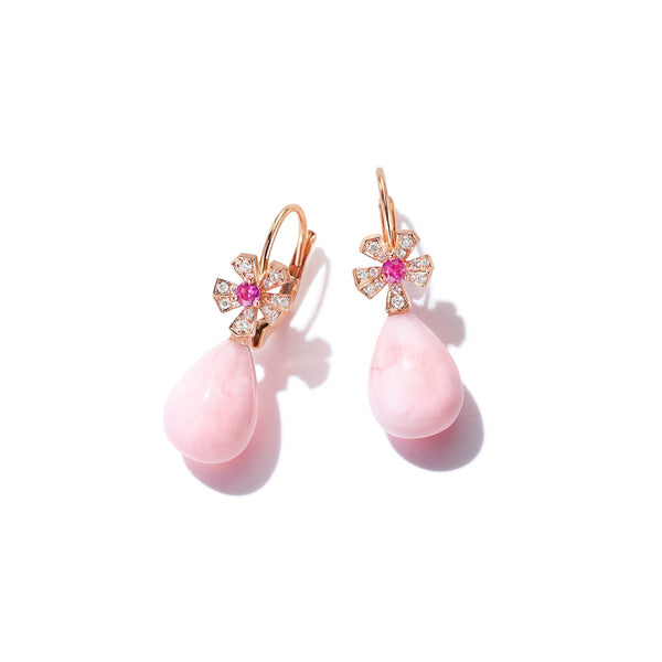 Wonderland Teardrop Pink Opal Earrings_18k Rose Gold