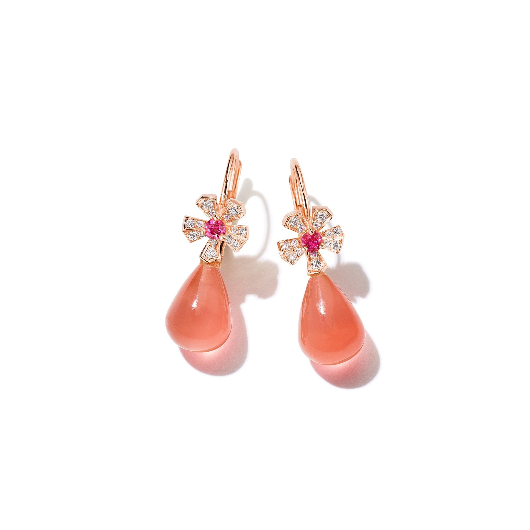 Wonderland Teardrop Rhodochrosite Earrings_18k Rose Gold