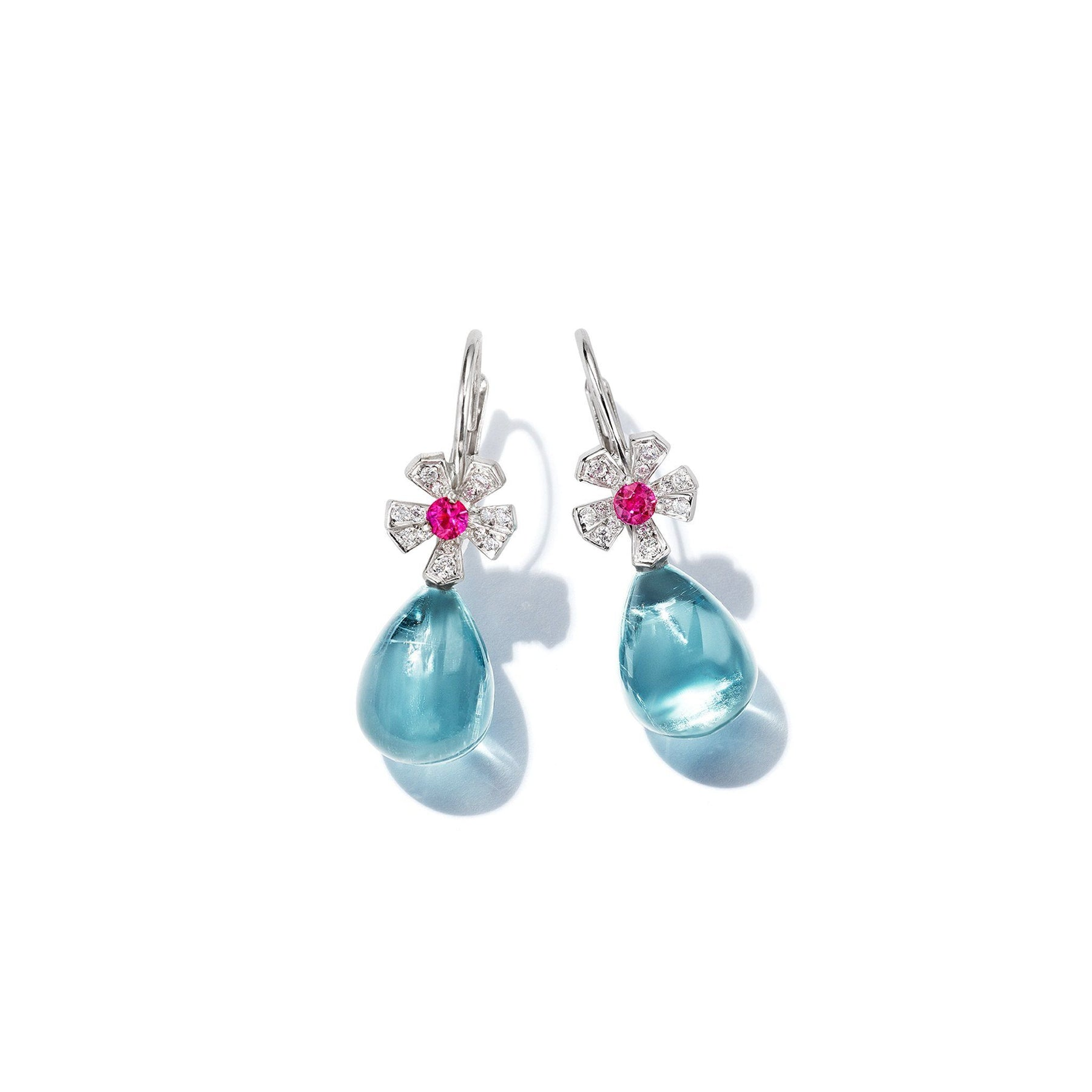 Wonderland Teardrop Aquamarine Earrings_18k White Gold