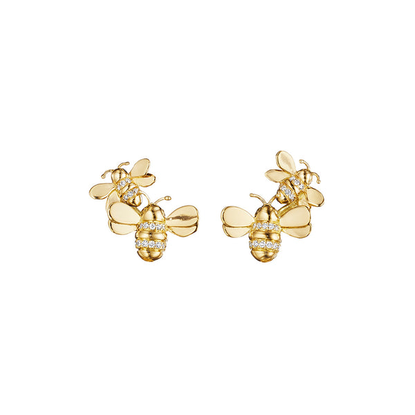 Wonderland Bumble Bee Climber Earrings_18k Yellow Gold