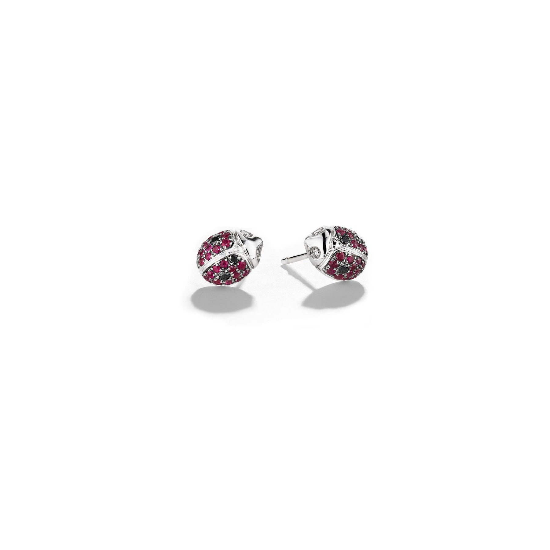 Ruby-Ladybug-Single-Stud-Earrings_18k White/Black Gold