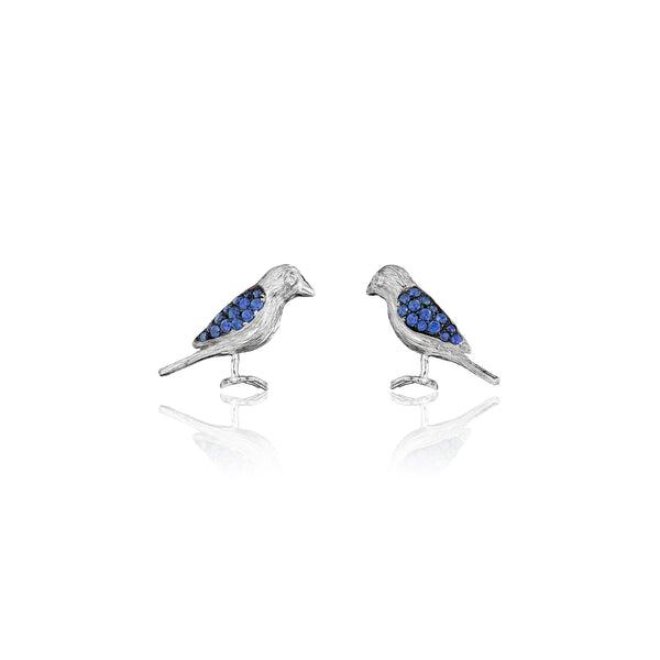 Wonderland Lovebird Sapphire Stud Earrings_18k White/Black Gold