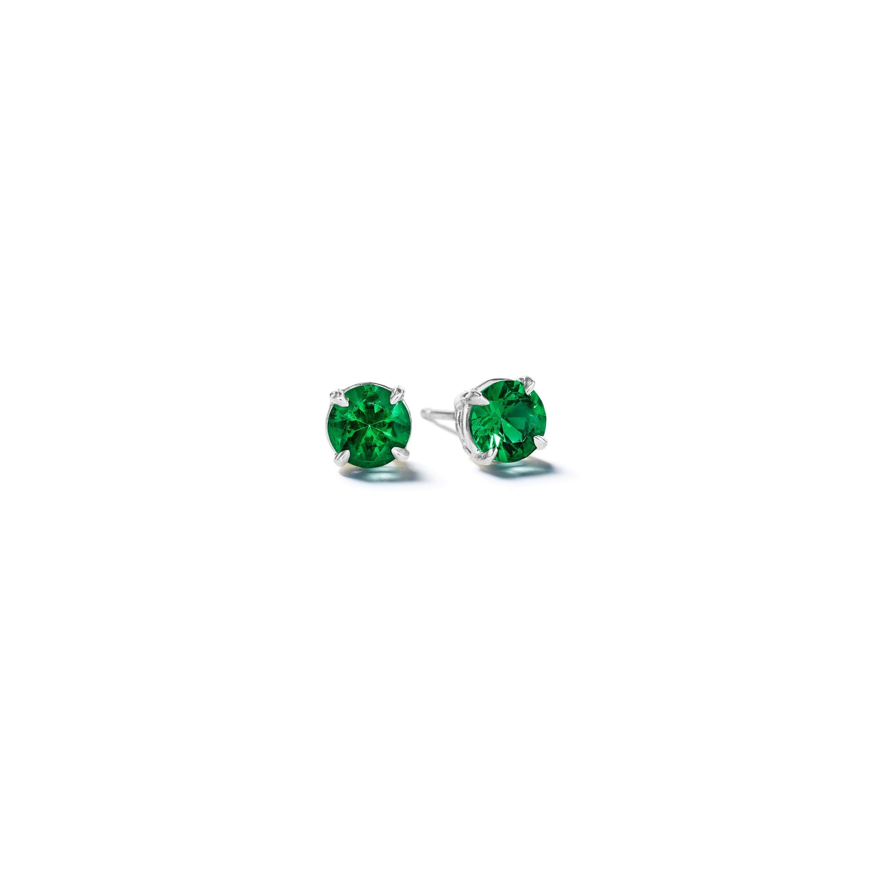 Round-Emerald-Studs-4mm_18k White Gold