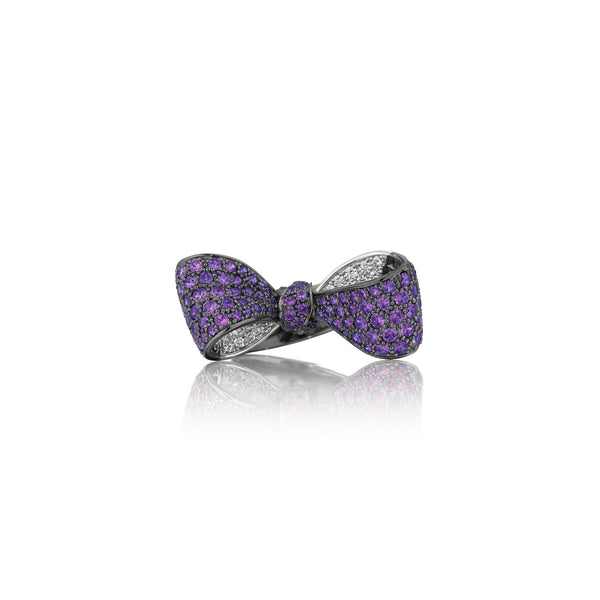 Mimi-So-amethyst-diamond-bow-ring-mid-black-gold_18k White/Black Gold