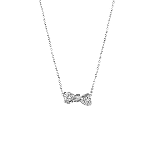 Bow Diamond Necklace_18k White Gold