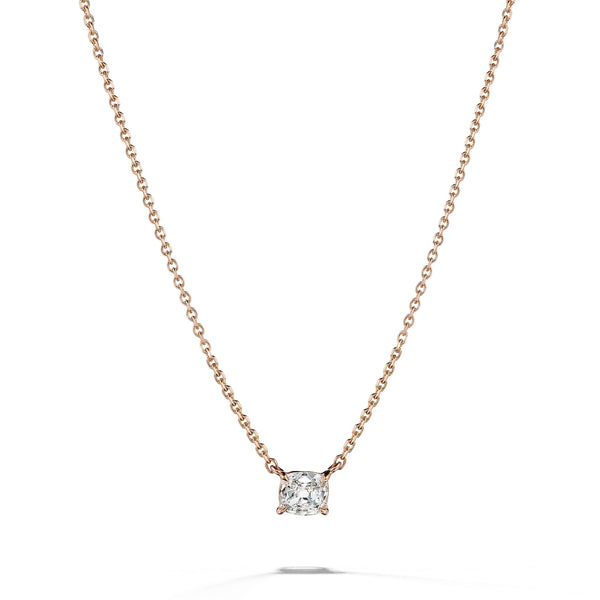 Cushion Cut Diamond Solitaire Necklace_18k Rose Gold