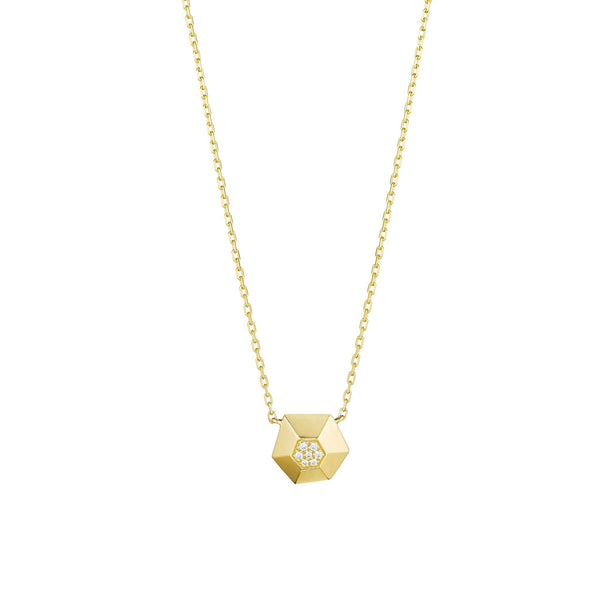 Jackson Faceted Hexagon Necklace_18k Yellow Gold