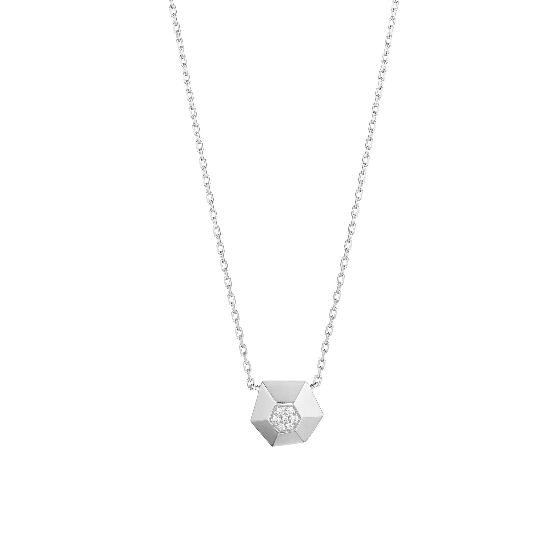 Jackson Faceted Hexagon Necklace_18k White Gold