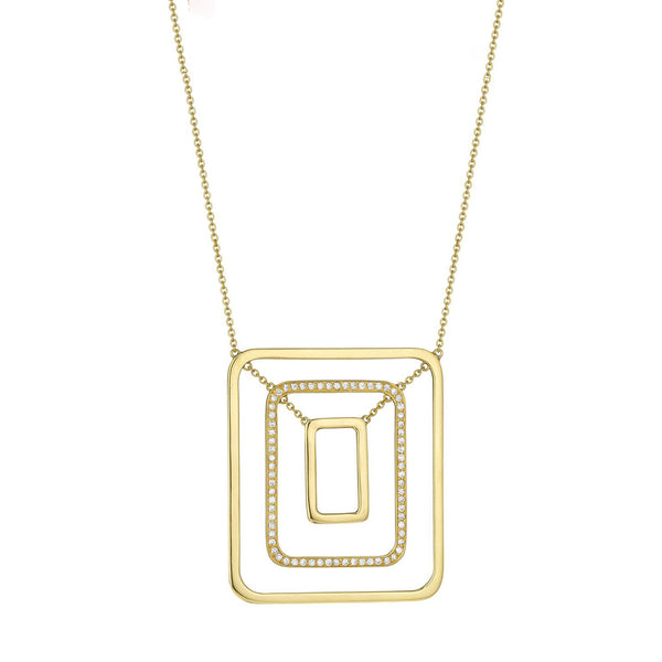 Piece Swing Center Pave Necklace_18k Yellow Gold