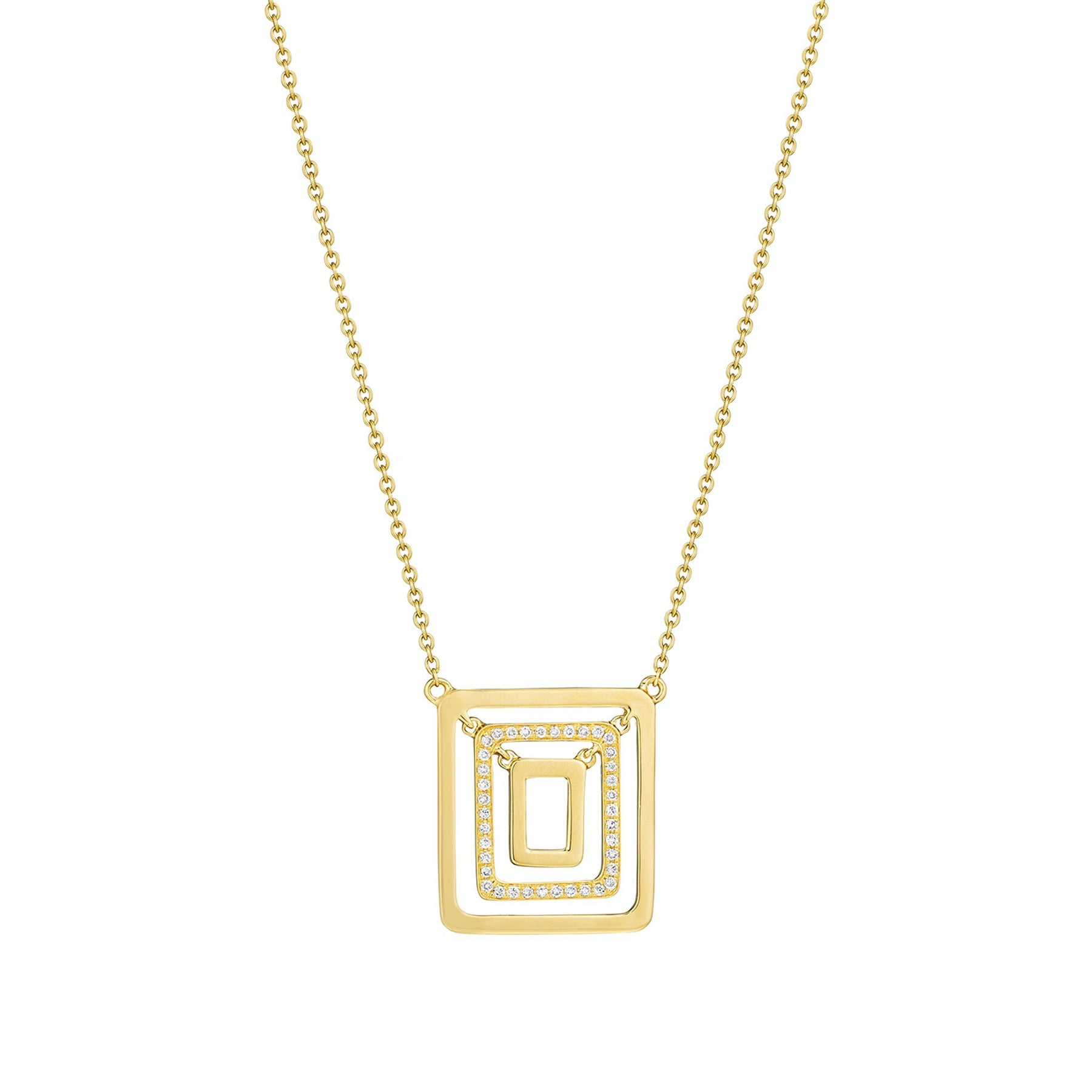 Piece Square Swing Necklace_18k Yellow Gold