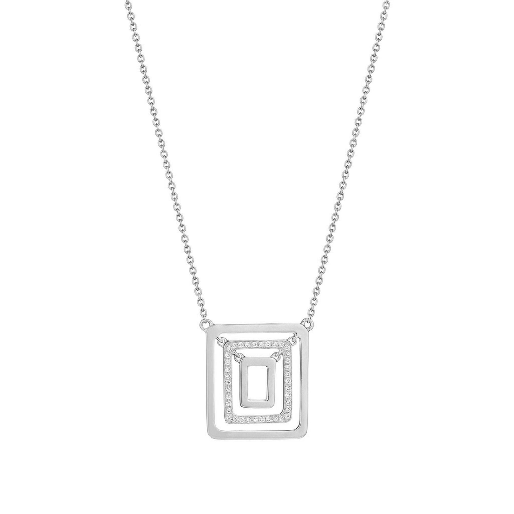 Piece Square Swing Necklace_18k White Gold