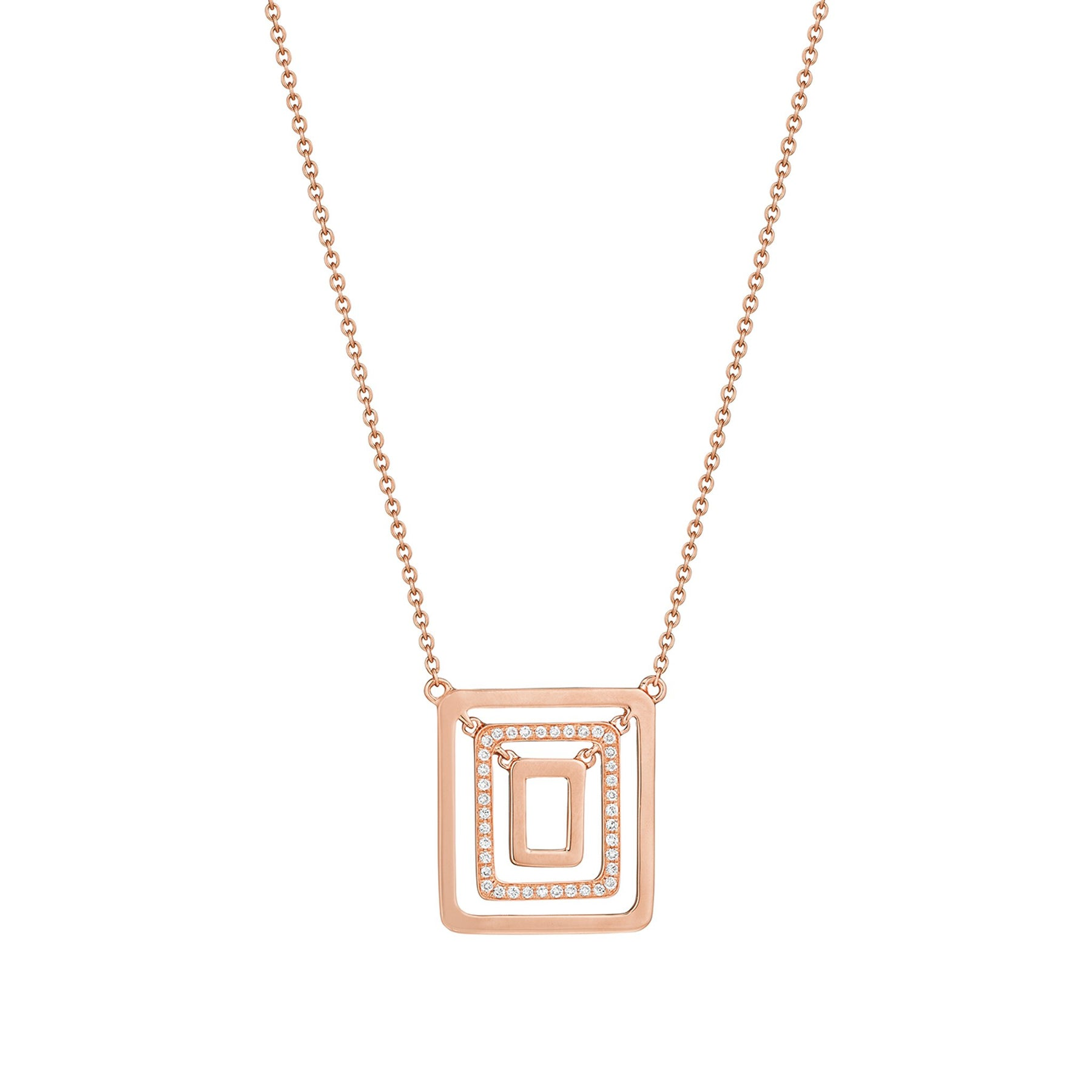 Piece Square Swing Necklace_18k Rose Gold