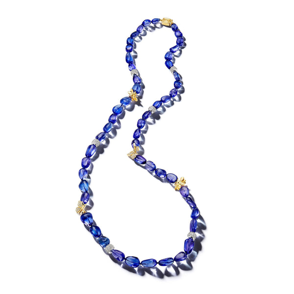 Wonderland-Bee-Butterfly-Tanzanite-Bead-Necklace_18k Yellow/White Gold