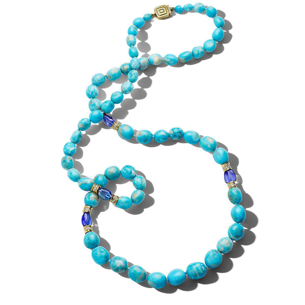Wonderland Turquoise & Tanzanite Bead Necklace_18k Yellow Gold