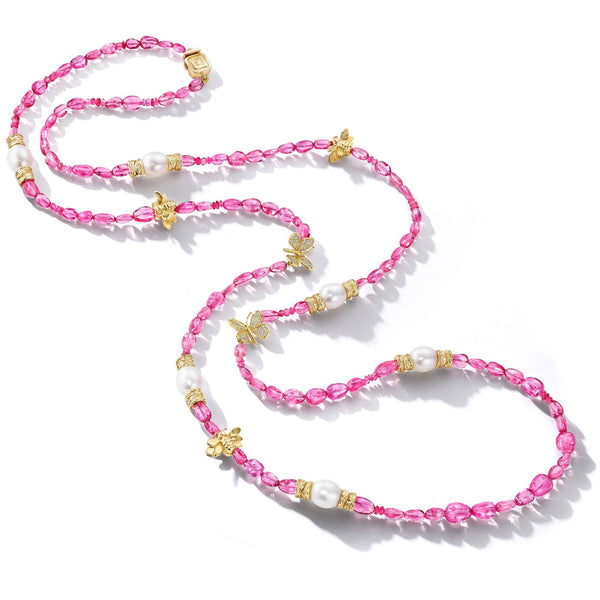 Wonderland  Pink Spinel & Pearl Bead Necklace_18k Yellow Gold