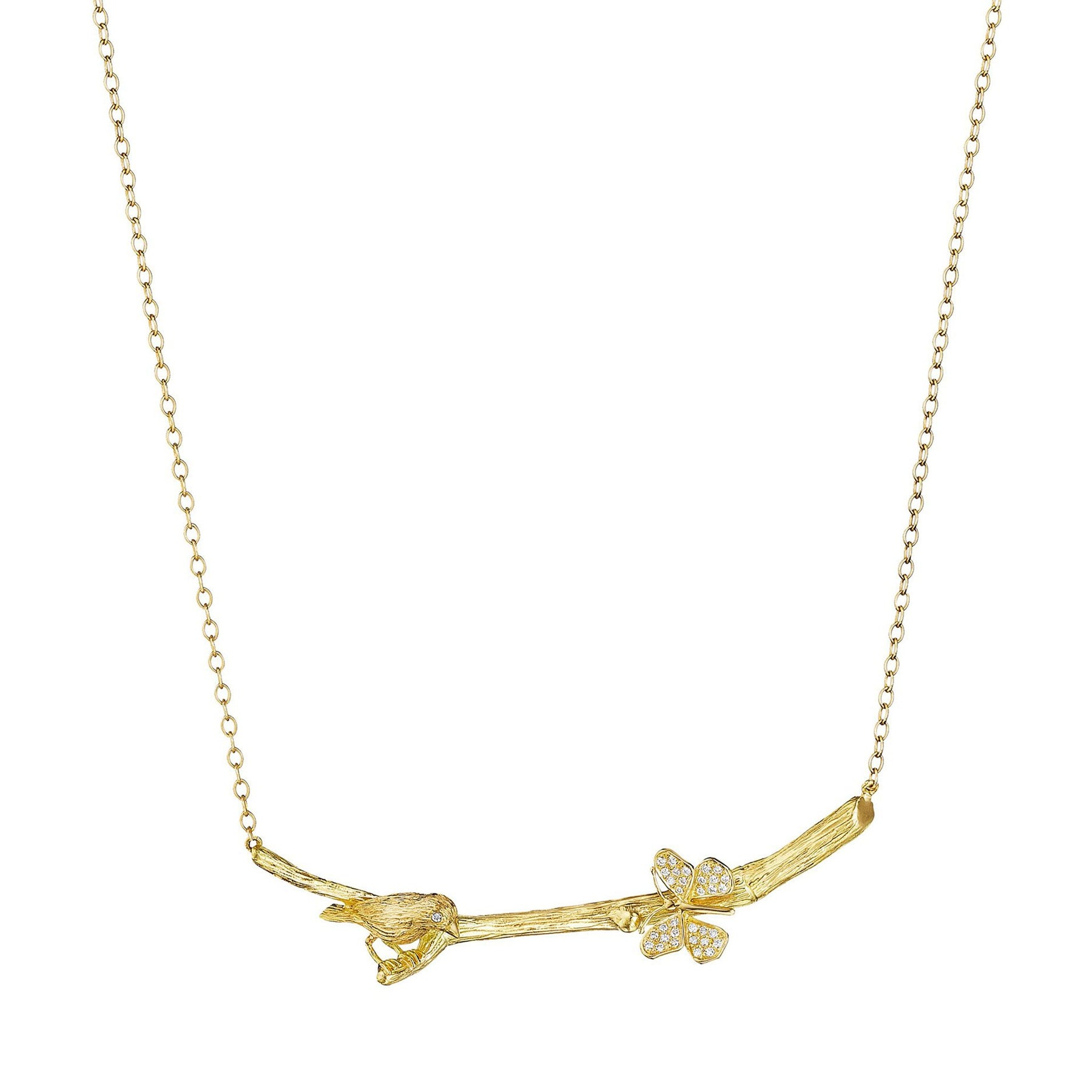 Wonderland Lovebird & Butterfly Twig Necklace_18k Yellow Gold