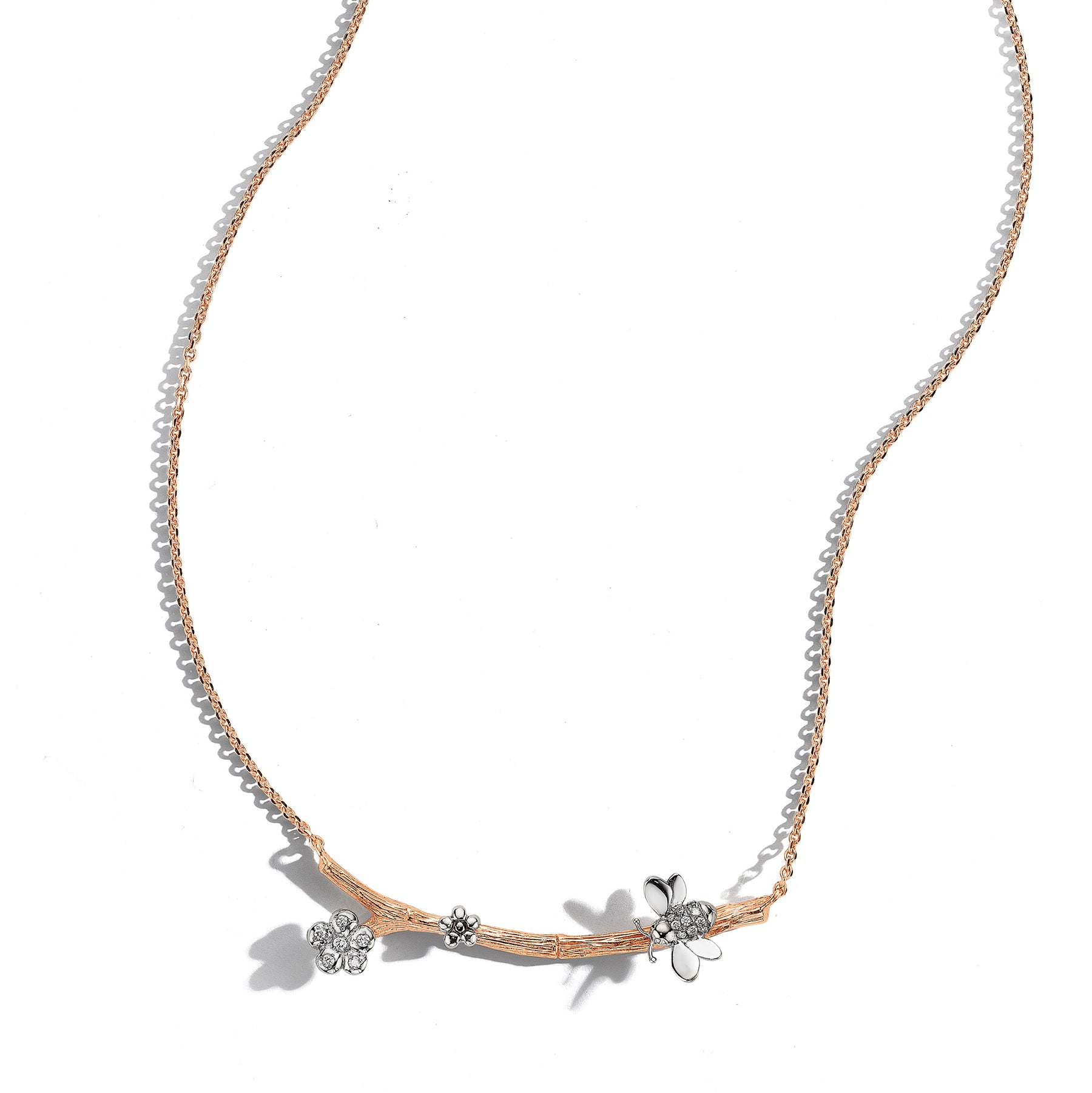 Wonderland Bee & Orchid Twig Necklace_18k White/Rose Gold