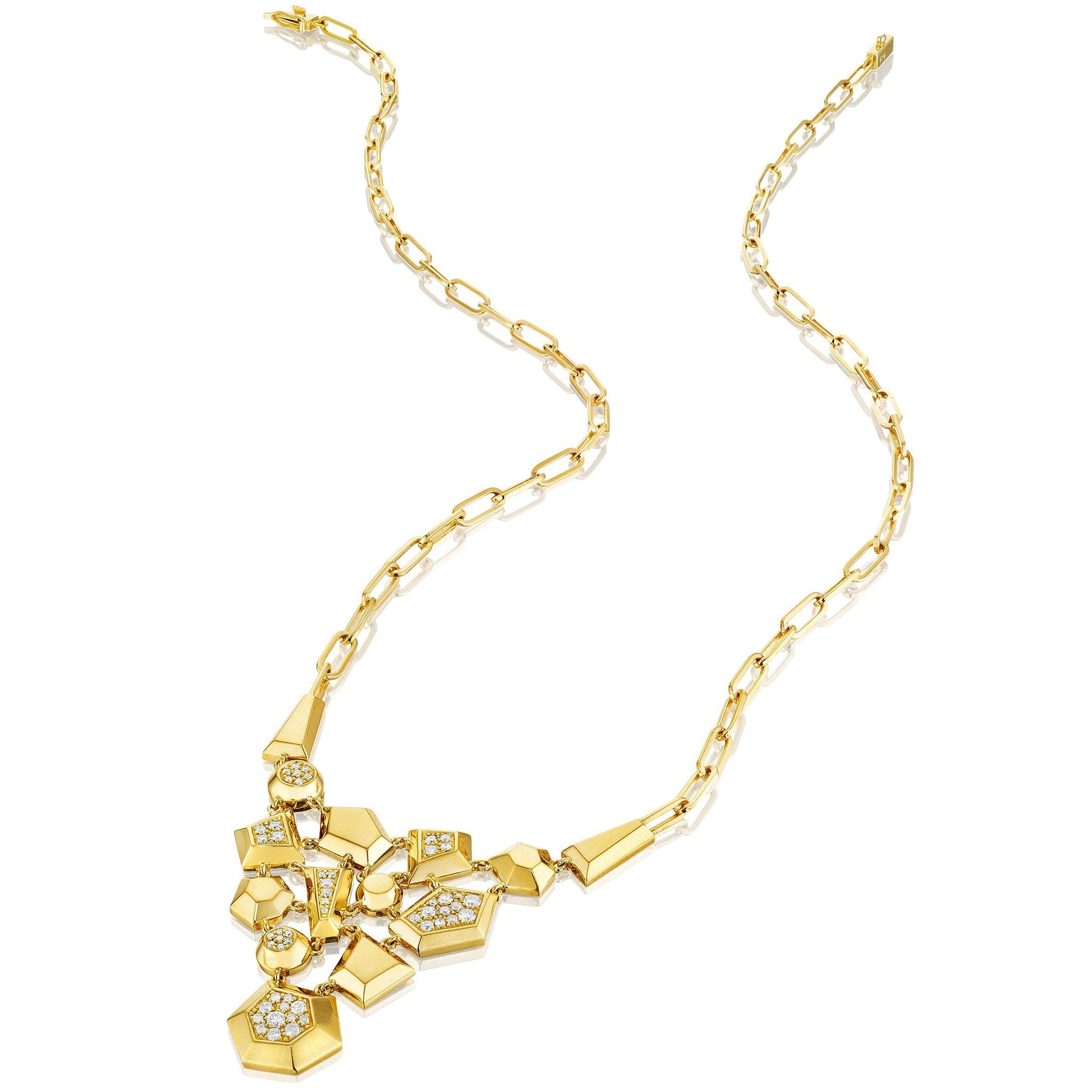 Jackson Cluster Diamond Necklace_18k Yellow Gold
