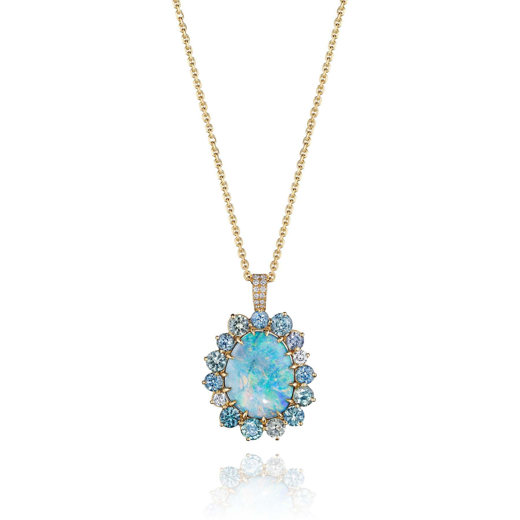 ZoZo Multi-Gemstone Opal Pendant Necklace_18k Yellow Gold