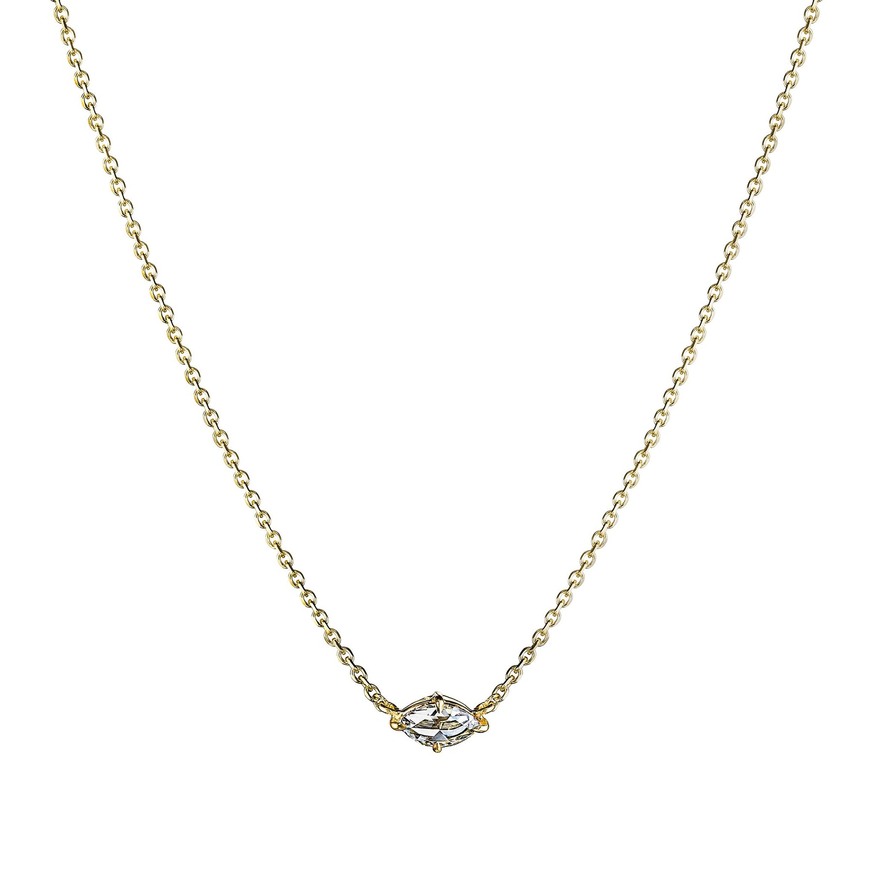Mimi-So-Rose-cut-marquise-diamond-solitaire-necklace_18k Yellow Gold
