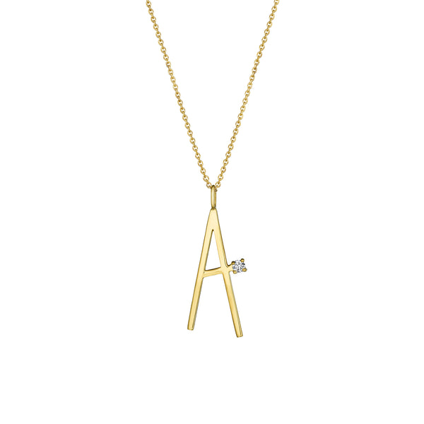 "Mimi So Type Letter ""A"" Pendant Necklace_18k Yellow Gold"