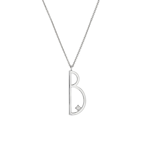 "Type Letter ""B"" Pendant Necklace_18k White Gold"