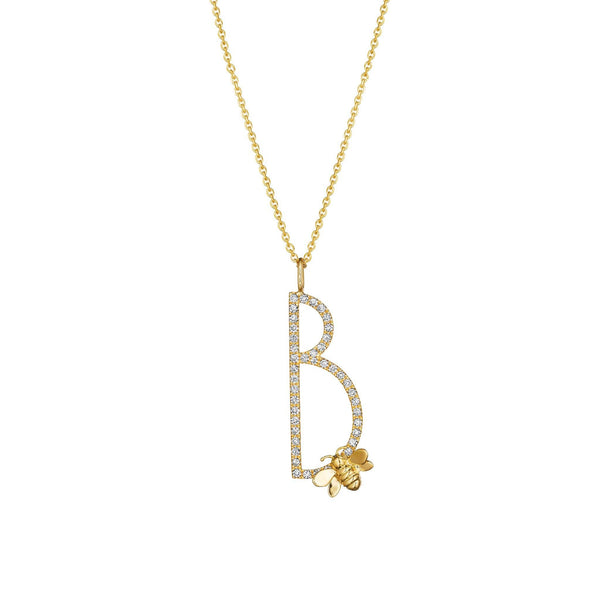 "Type Letter ""B"" Bee Pendant Necklace_18k Yellow Gold"
