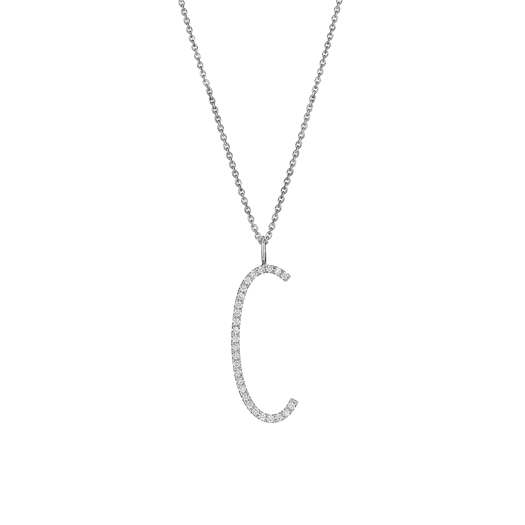 "Type Letter ""C"" Pendant Necklace_18k White Gold"