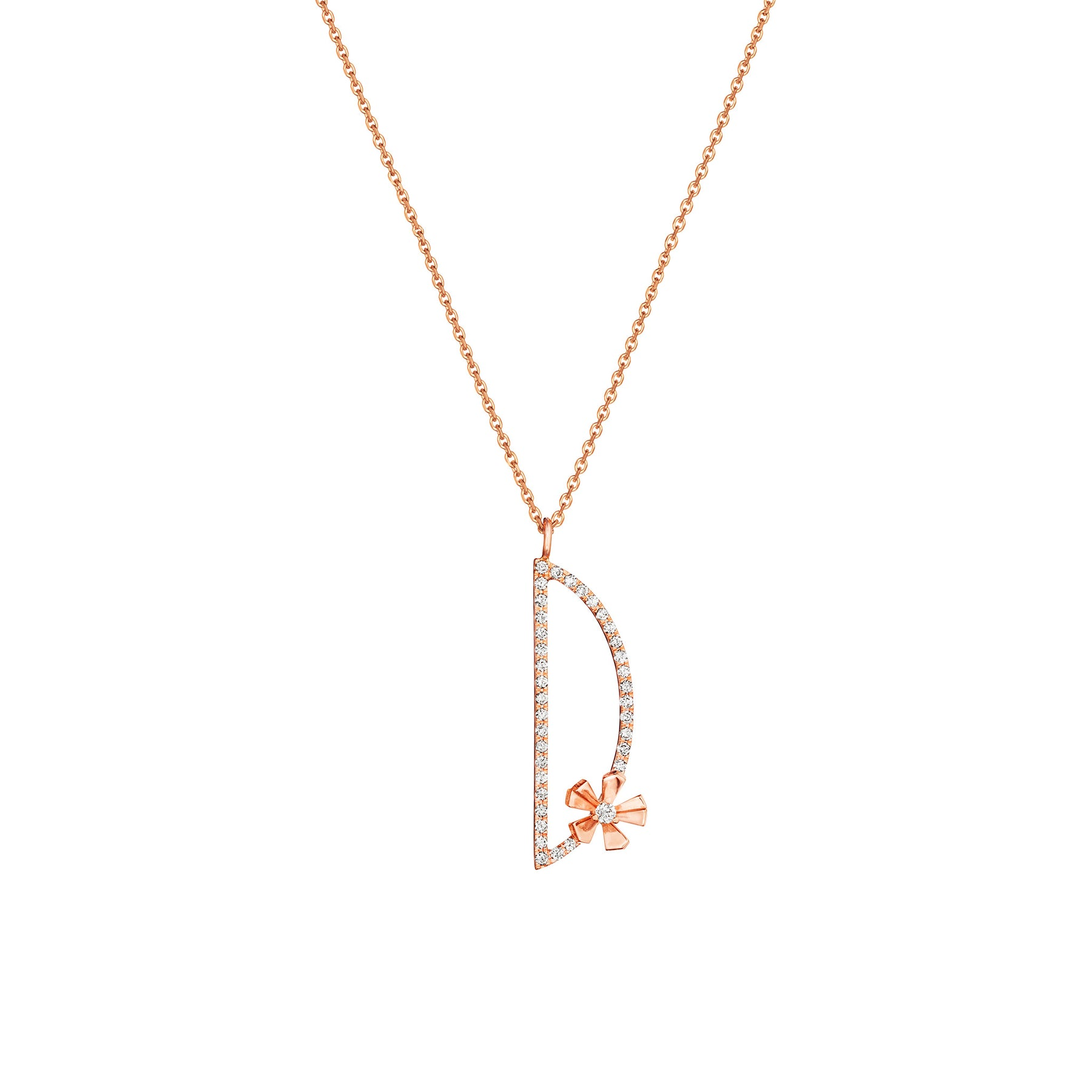 "Type Letter ""D"" Orchid Pendant Necklace_18k Rose Gold"