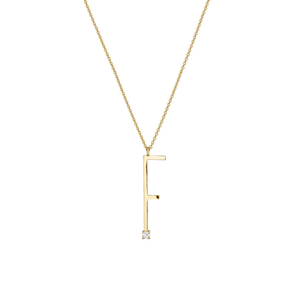 "Type Letter ""F"" Diamond Pendant Necklace_18k Yellow Gold"