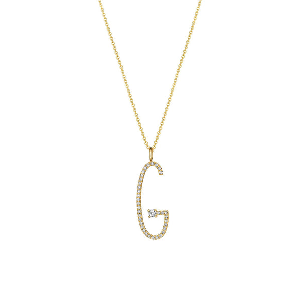 "Type Letter ""G"" Diamond Pendant Necklace_18k Yellow Gold"