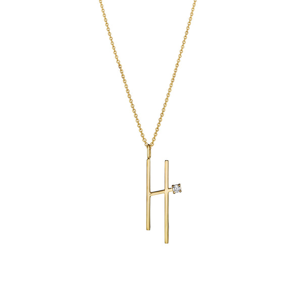 "Type Letter ""H"" Diamond Pendant Necklace_18k Yellow Gold"