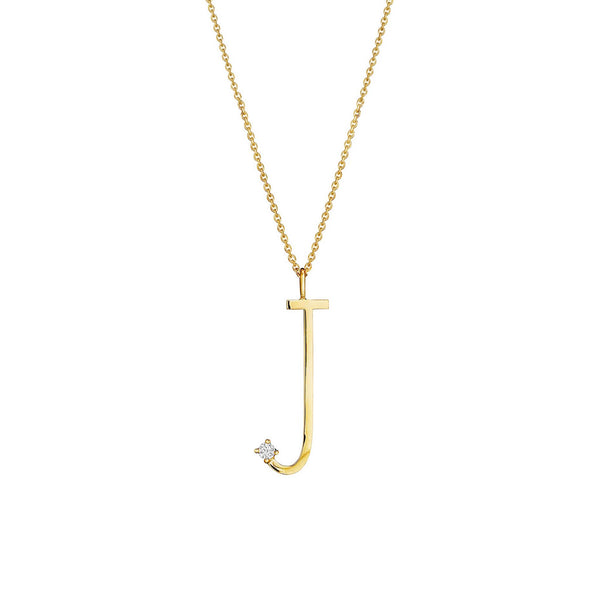 "Type Letter ""J"" Pendant Necklace_18k Yellow Gold"