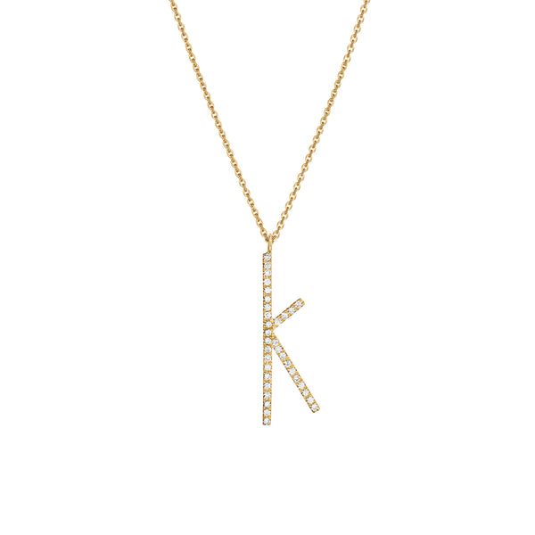 "Type Letter ""K"" Diamond Pendant Necklace_18k Yellow Gold"