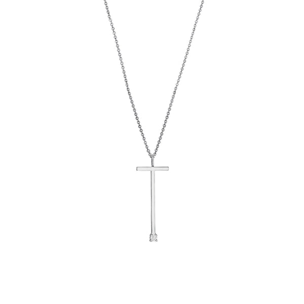 "Type Letter ""T"" Pendant Necklace_18k White Gold"