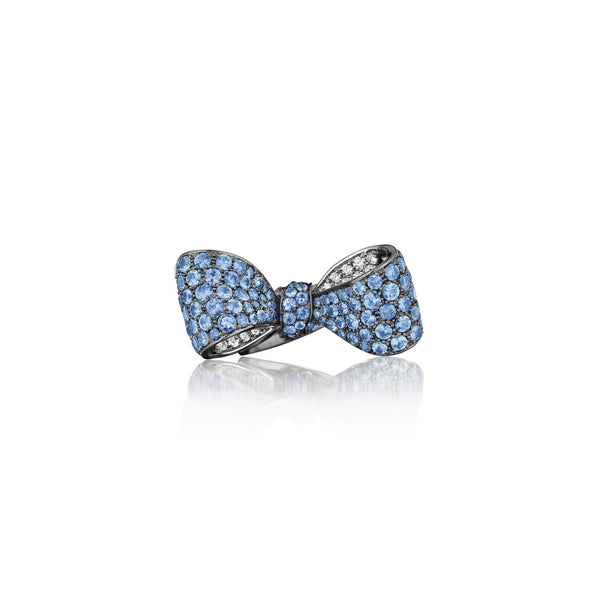 Bow Sapphire & Diamond Ring_18k White/Black Gold