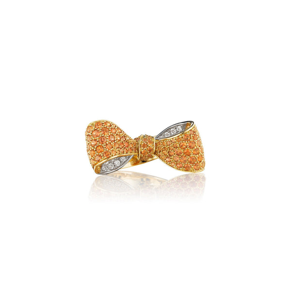 Bow Orange Sapphire Diamond Ring_18k Yellow Gold