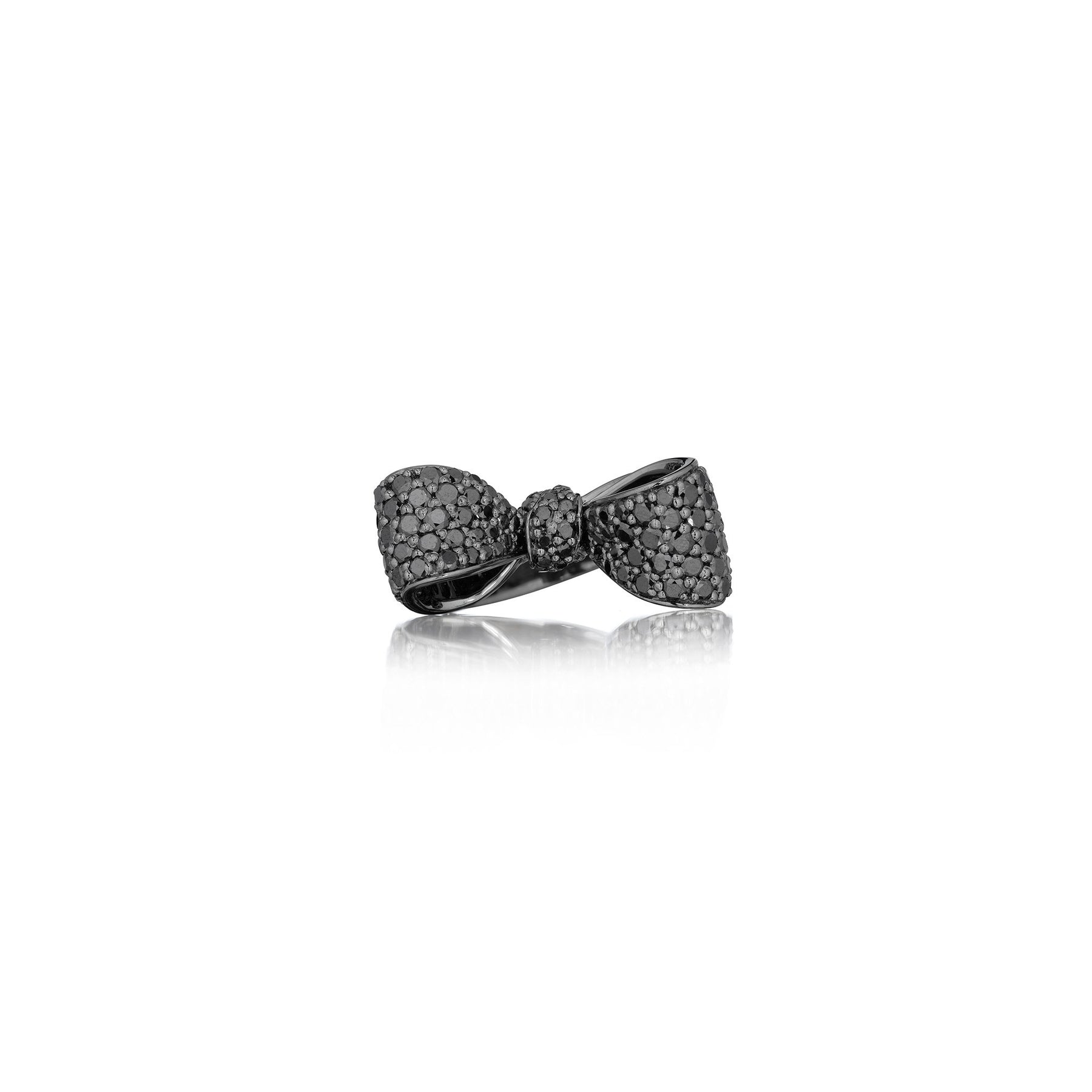 Bow Black Diamond Ring_18k Black Gold