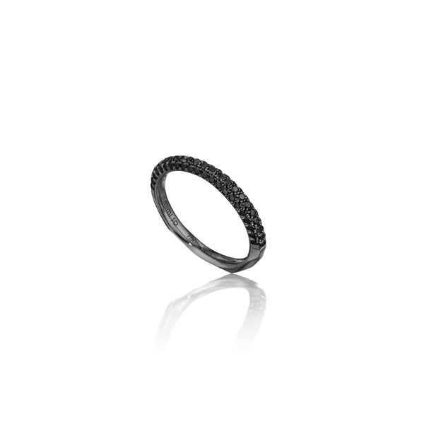 Jackson Switch 3-Row Black Diamond Ring_18k Black Gold