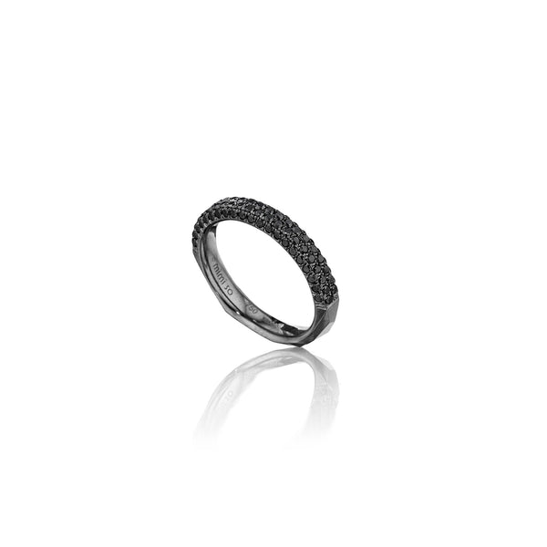 Jackson Switch 4-Row Black Diamond Ring_18k Black Gold