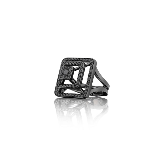 Piece Pyramid Black Diamond Ring_18k Black Gold