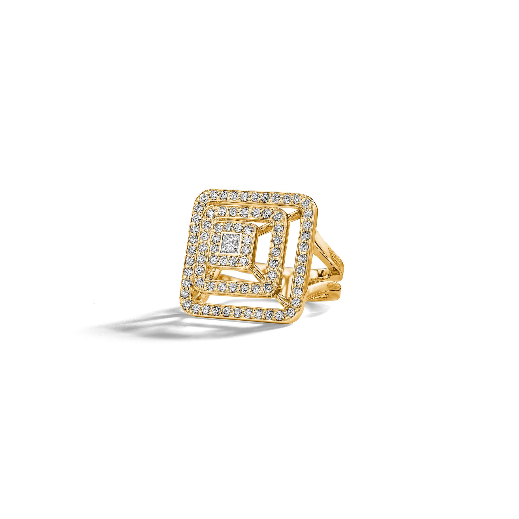 Piece Pyramid Diamond Ring_18k Yellow Gold
