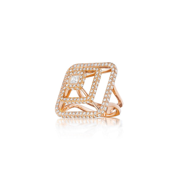 Piece Pyramid 3D Diamond Ring Large_18k Rose Gold