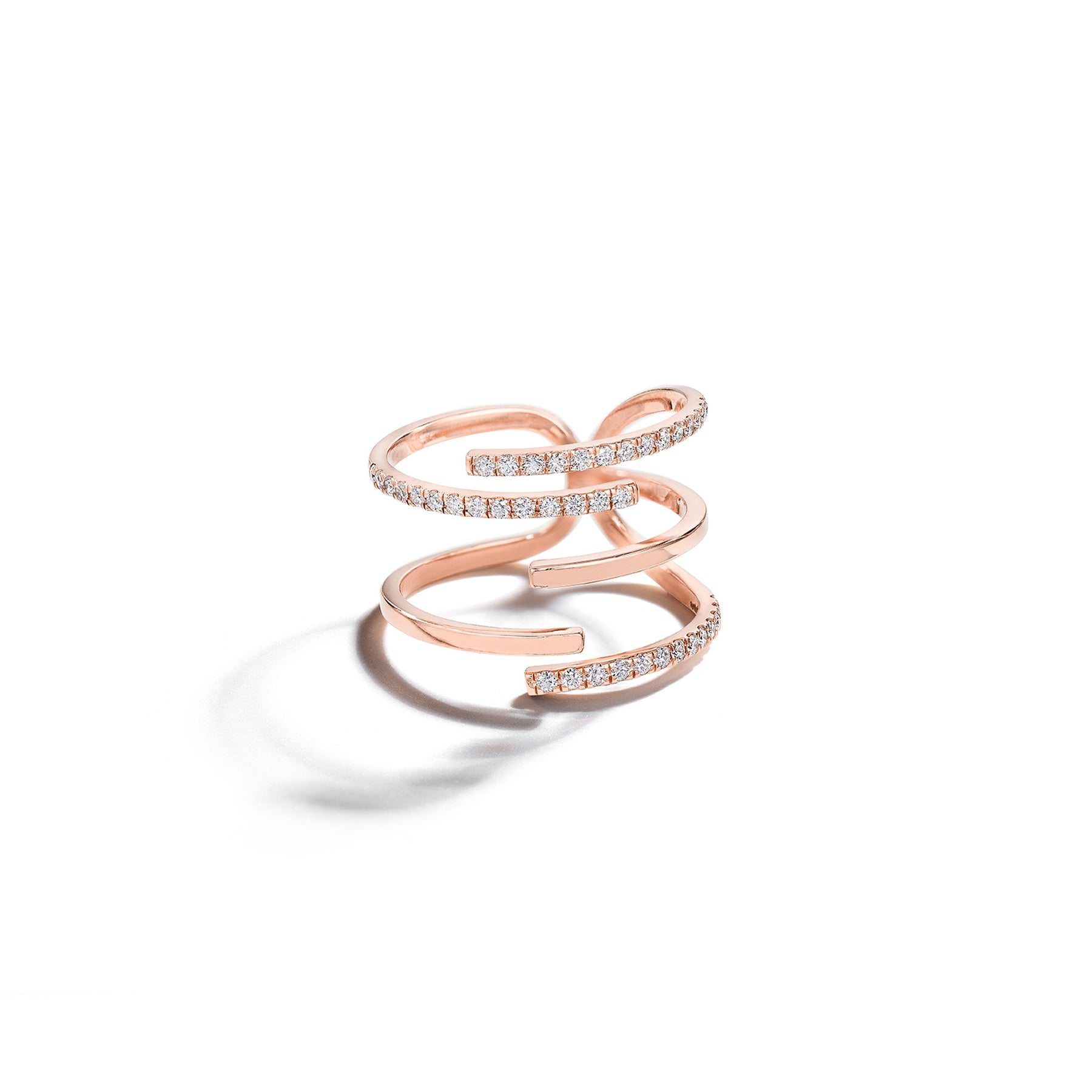 Mimi So Piece Stick Pave Diamond Ring_18k Rose Gold