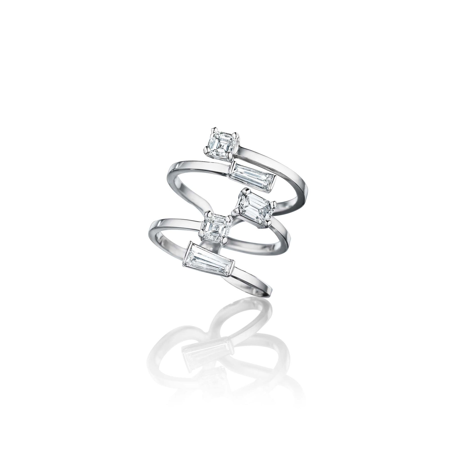 Piece Stick Mixed Shape Diamond Ring_Platinum