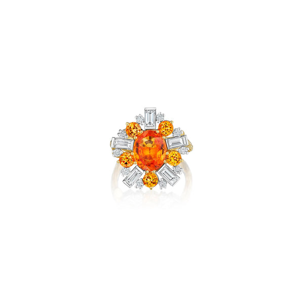 Wonderland Ballerina Orange Sapphire Ring_18k Yellow/White Gold