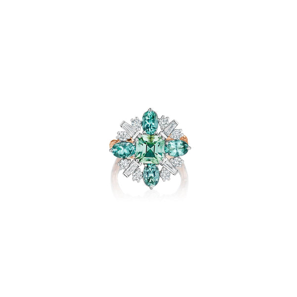 Mimi So Wonderland Green Tourmaline Ballerina Ring_18k White/Rose Gold