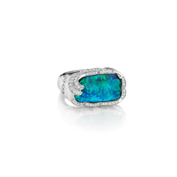 ZoZo Opal & Diamond Wave Ring_18k White Gold