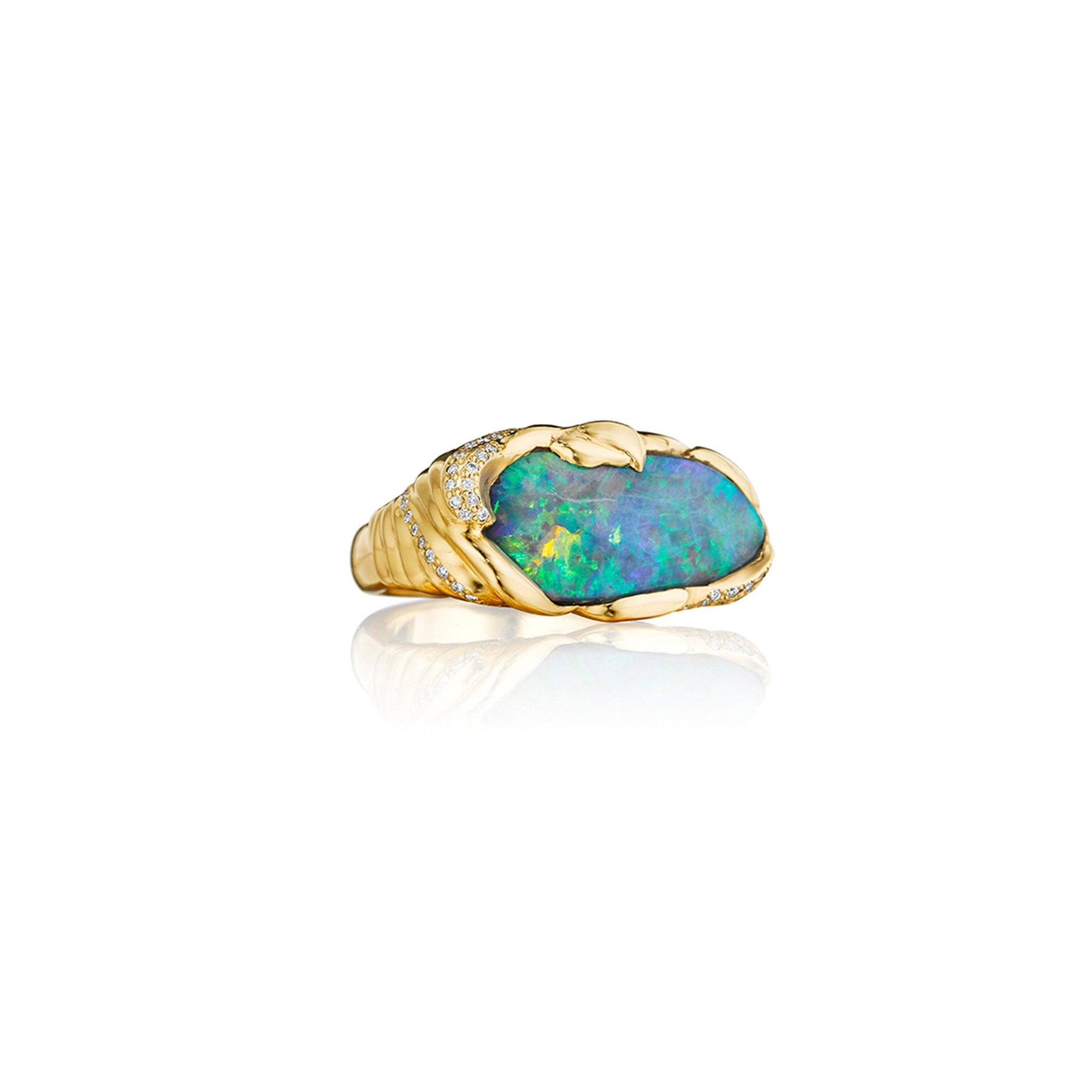 ZoZo Boulder Opal and Diamond Ring_18k Yellow Gold
